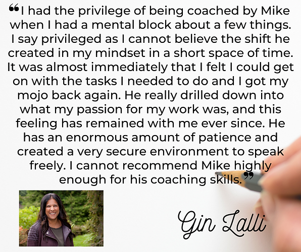 I had the privilege of being coached by