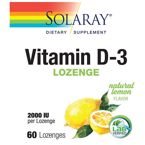 Solaray Vitamin D-3 lemon lozenges (60 ct)