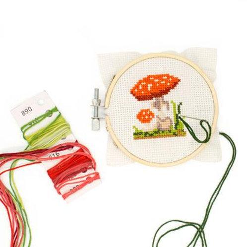 Mini Cross Stitch Mushroom Embroidery Kit