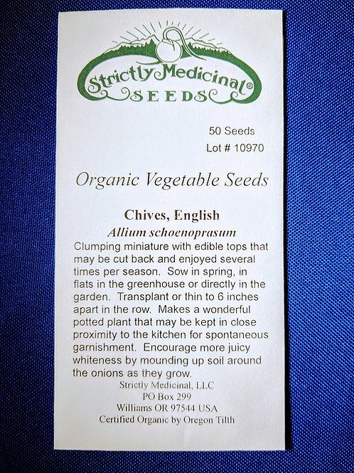 Chives, English (Allium schoenoprasum), packet of 50 seeds, organic