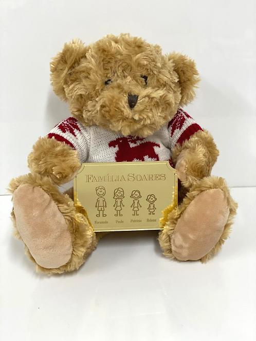 Urso Tricot Natalino com Placa da Família