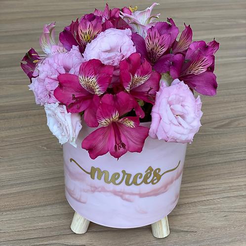 Cachepot Acrílico Personalizado com Flores Naturais (Grande)Cachepot Acrílico Pe