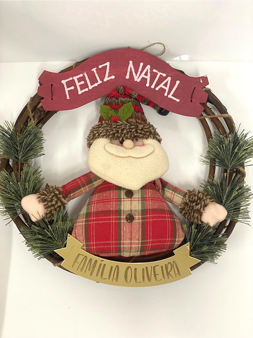 Guirlanda Papai Noel  Decorada  com Placa da Família