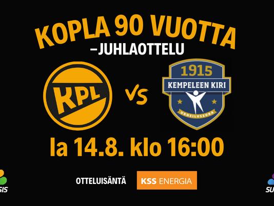 KPL:n 90-vuotisjuhlaottelu lauantaina klo 16:00