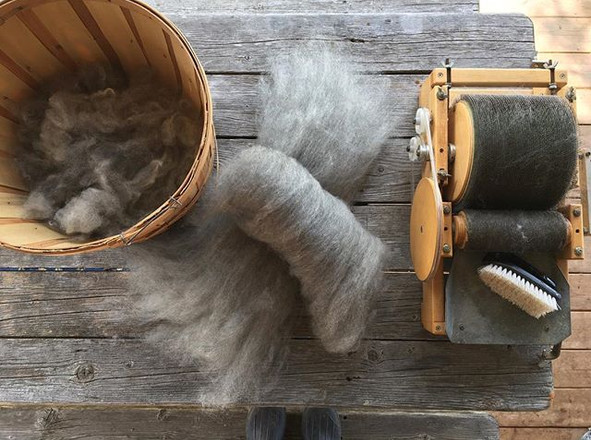 I may have forgotten to mention the early-1980s Pat Green drum carder that I picked up last fall_ _First, it took a whole lot of scrubbing,_