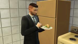 Having a burger