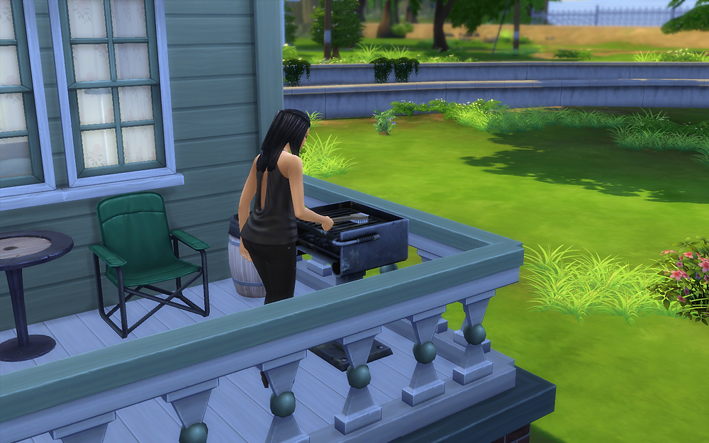 Genevieve Cleaning the BBQ
