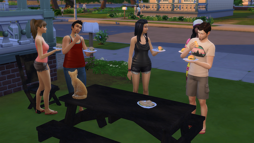 Everyone's enjoying the hamburgers