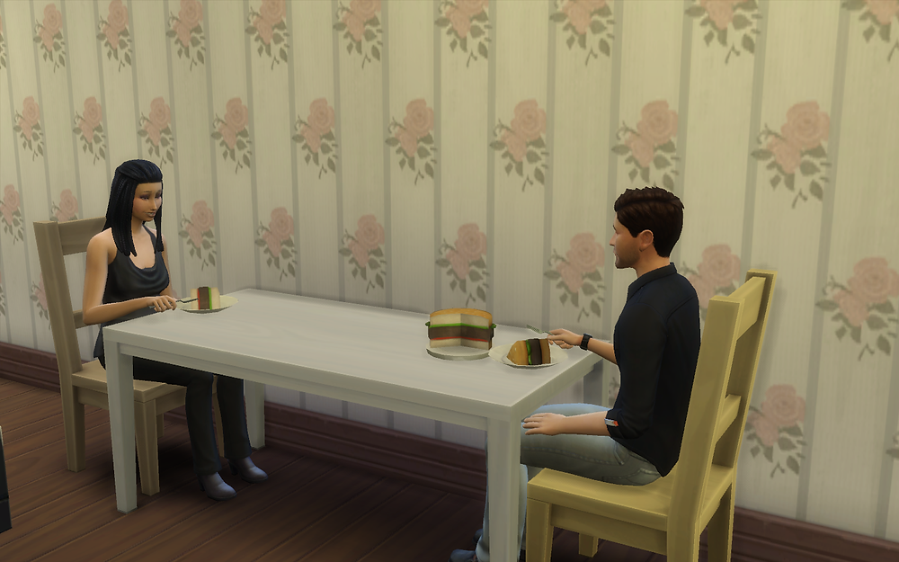 Me and Genevieve Eating Hamburger Cake