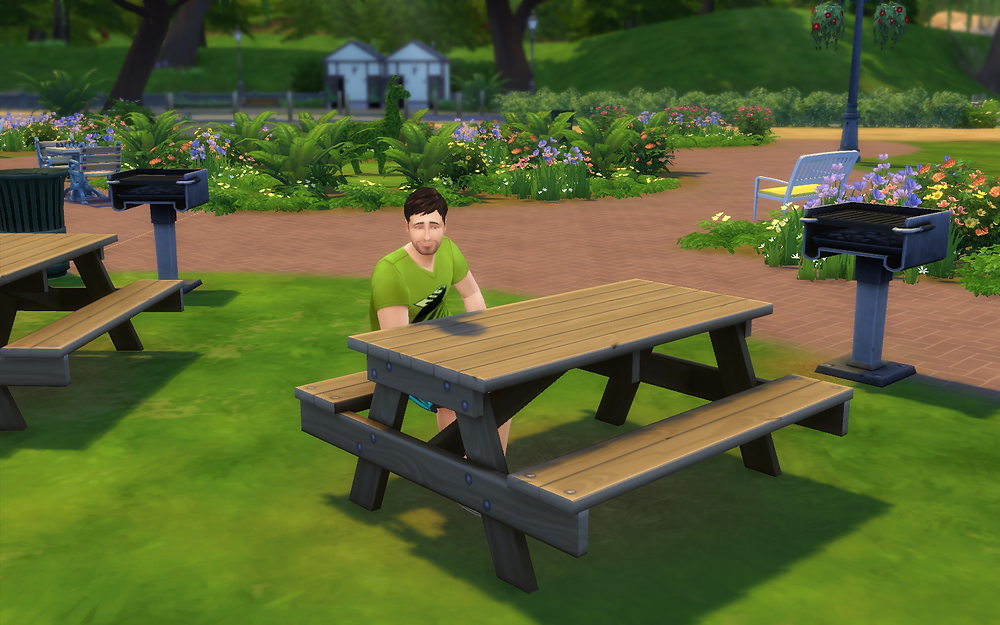 Relaxing at a Picnic Table