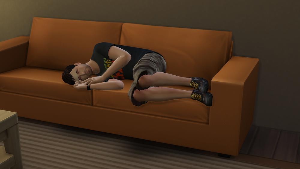Sleeping on Tara's couch