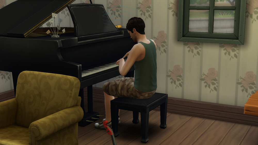 Practicing the piano