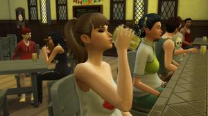 Tara chugging beer down