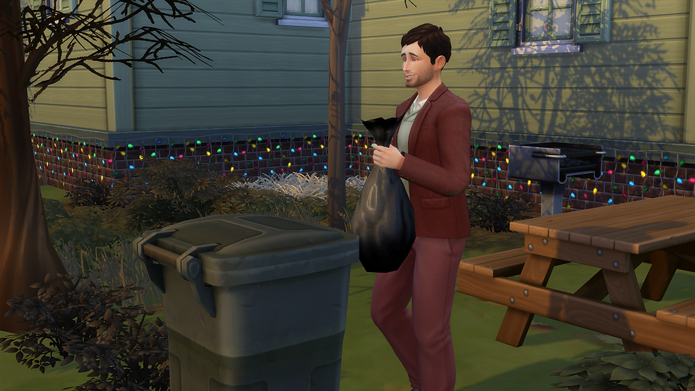 Throwing the leaves in the garbage