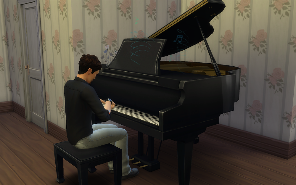 At Home Playing the Piano