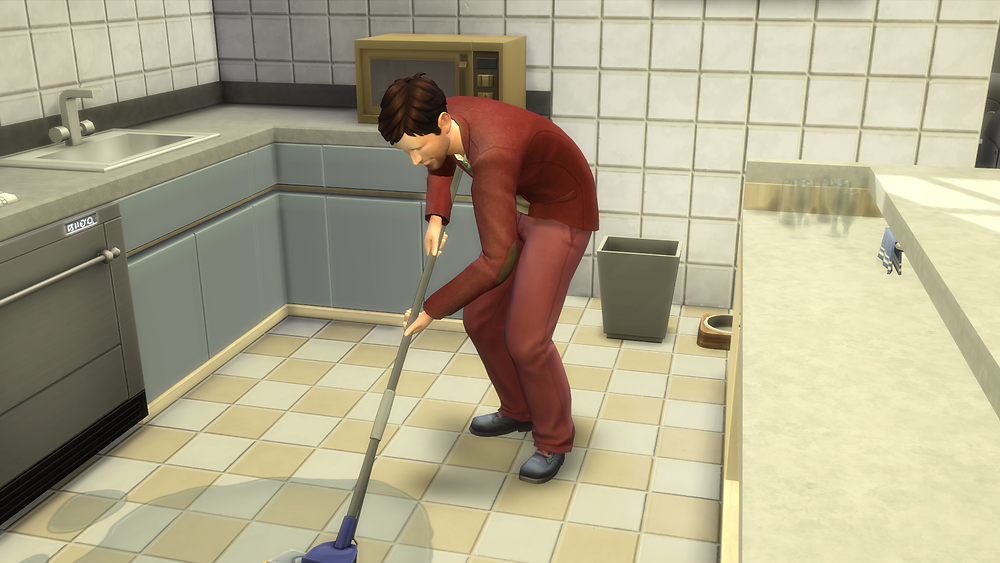 Mopping up the water on the floor