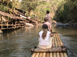 See the back waters by bamboo raft