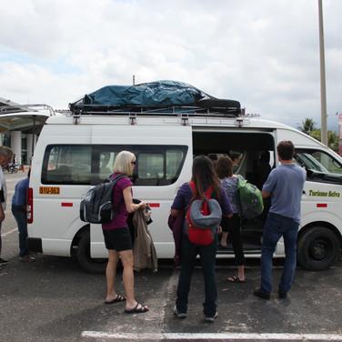 The team arriving in Tarapoto