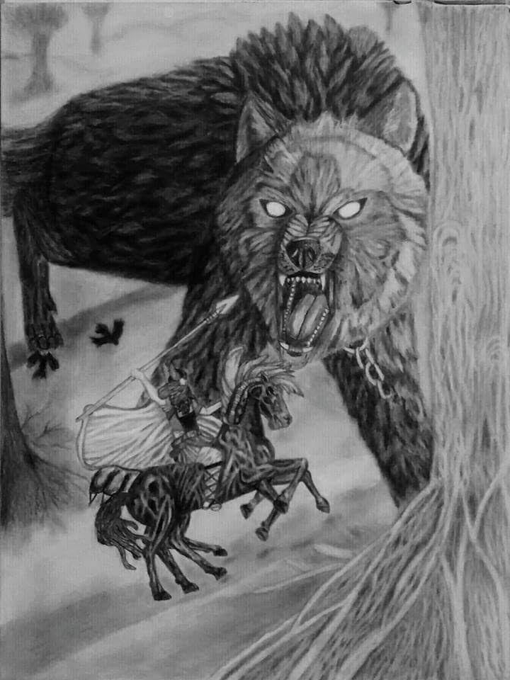 Katie Berglof - Odin, Fenrir, and Sleipnir Drawing