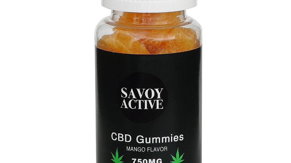 CBD Gummies - Mango Flavor - 750MG CBD - 100% Natural - 30 Gummies (25MG Each)