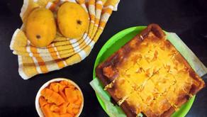 Mango swirl cheesecake squares