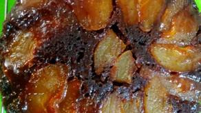 Pear upside down chocolate cake
