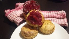 Scones with home made cranberry jam