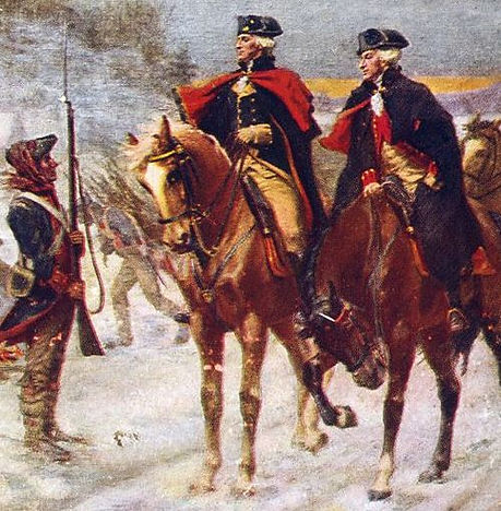 Lafayette and Washigton on horseback