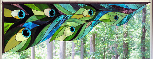 Peacock Feather Window Corner Pattern