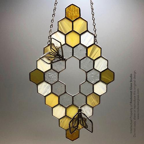 Honeycomb with 3D Bees Suncatcher #4