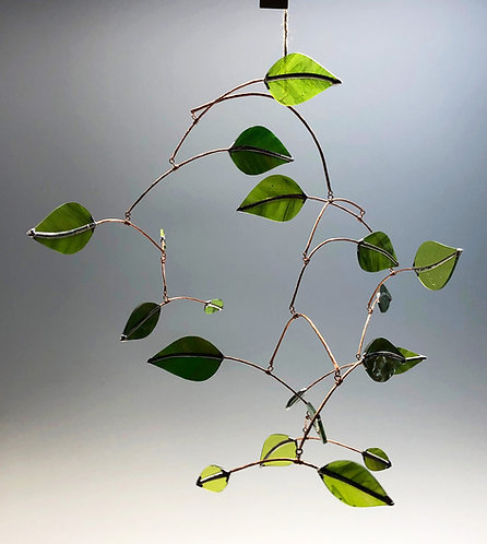 Large Glass Leaves Mobile