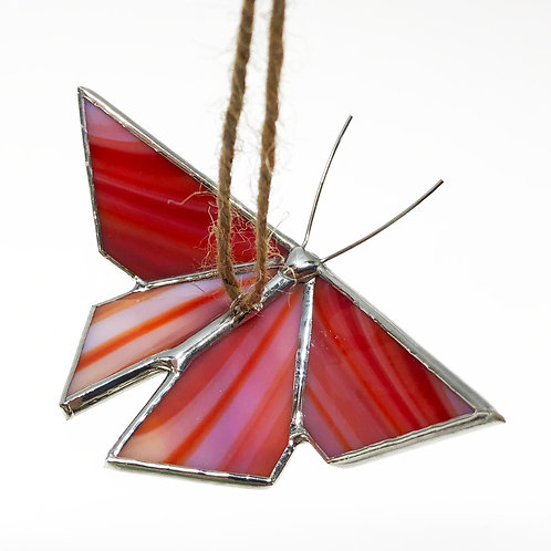 Red Orange White Origami Butterfly - Ready to Ship
