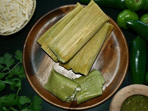 Vegan Cheese & Green Salsa Tamales - Dozen