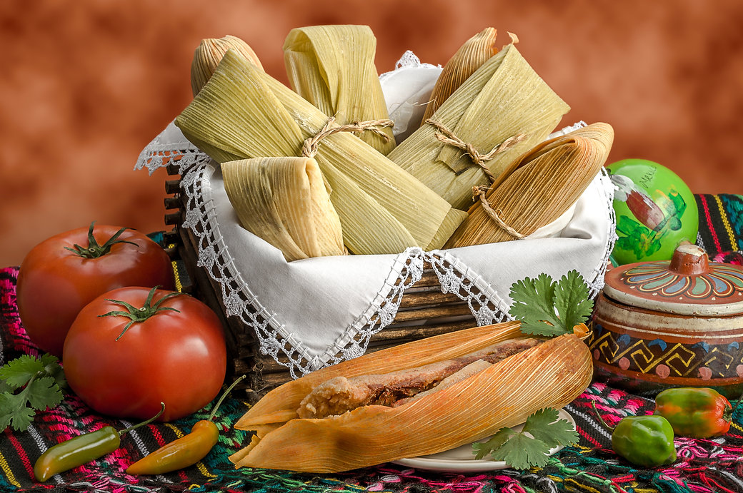 Tamales, Mexican dish made with corn dou