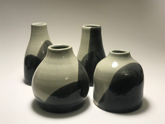 Vases - Aqua over Black
