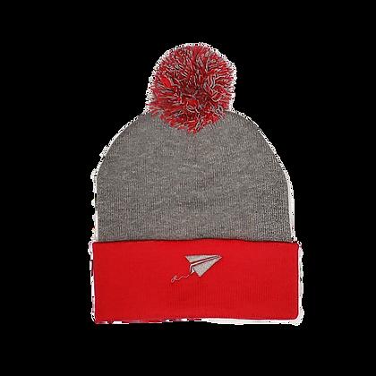 Toque pom-pom - red/grey