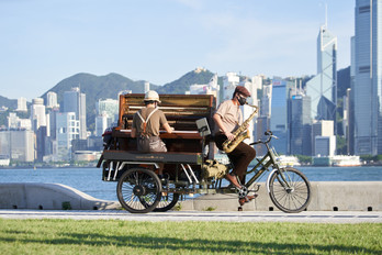 50-year-old Piano Cycling around West Kowloon District