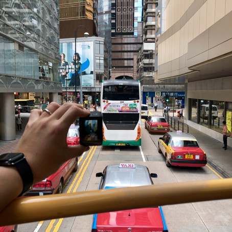 Enjoy the beautiful view from double deck buses in Hong Kong