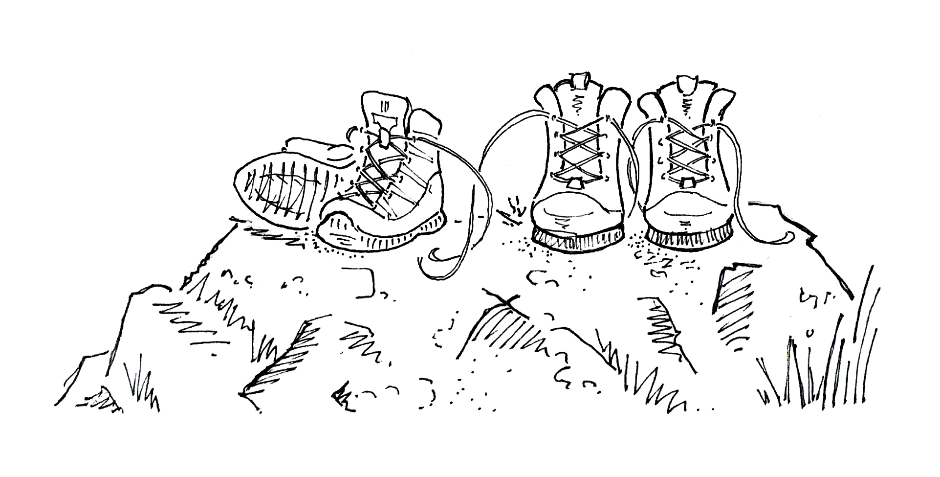 L&C Sketch boots on a rock