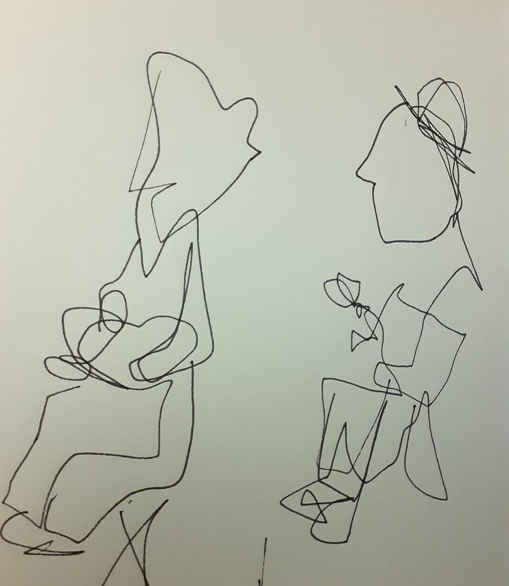 """Una scena di """"Teatro Delusio"""". Disegno di Gaia Macassaro"""