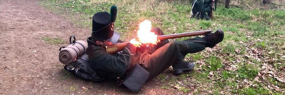 "Demonstrating the ""Supline Position"" as used by Rifleman Plunkett"