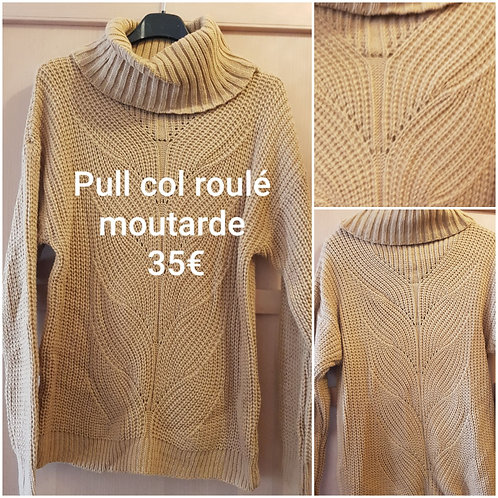 Pull col roulé moutarde