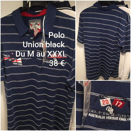 Polo Rugby rayé Union Black