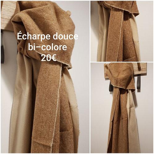 Echarpe bi-colore marron beige