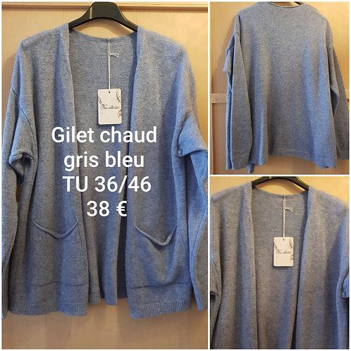 Gilet ultra doux gris bleu