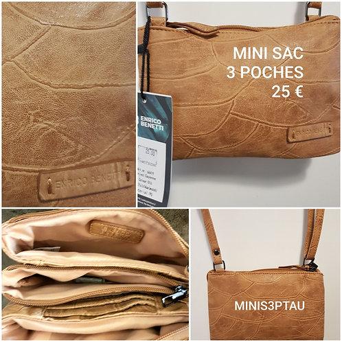 Mini sac 3 poches beige