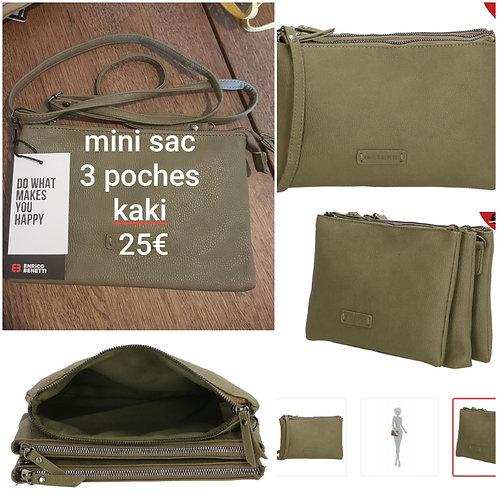 Mini sac 3 poches kaki