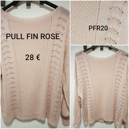 Pull fin rose en coton