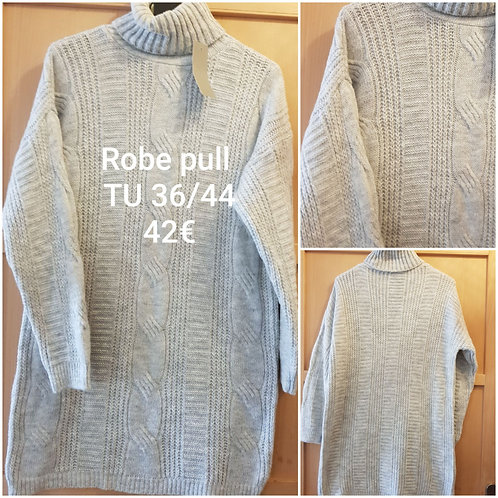 Robe pull chaude col roulé