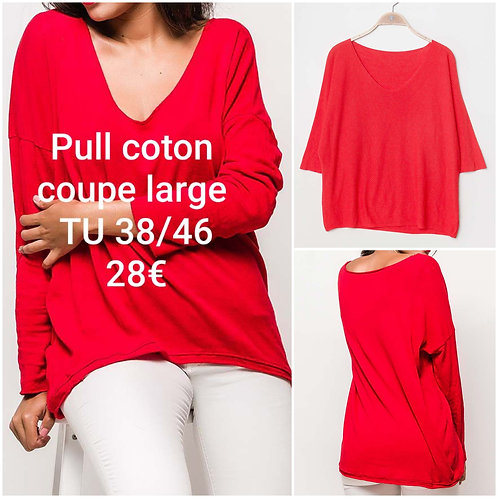 Pull fin coton coupe large